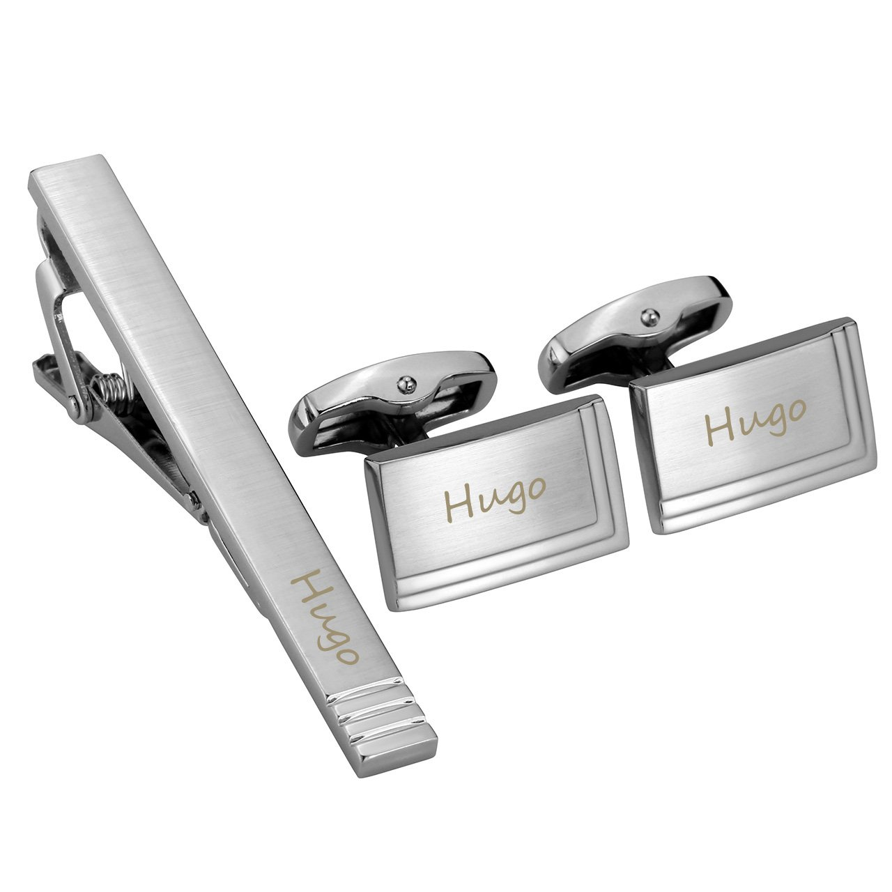 Jovivi Personalized Custom Name Message Tie Clip for Men Cufflinks Set Tuxedo Shirts Business Wedding in Gift Box(Silver)