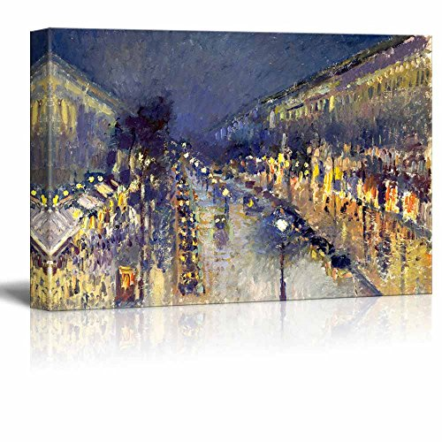 wall26 The Boulevard Montmartre at Night by Camille Pissarro - Canvas Print Wall Art Famous Oil Painting Reproduction - 12