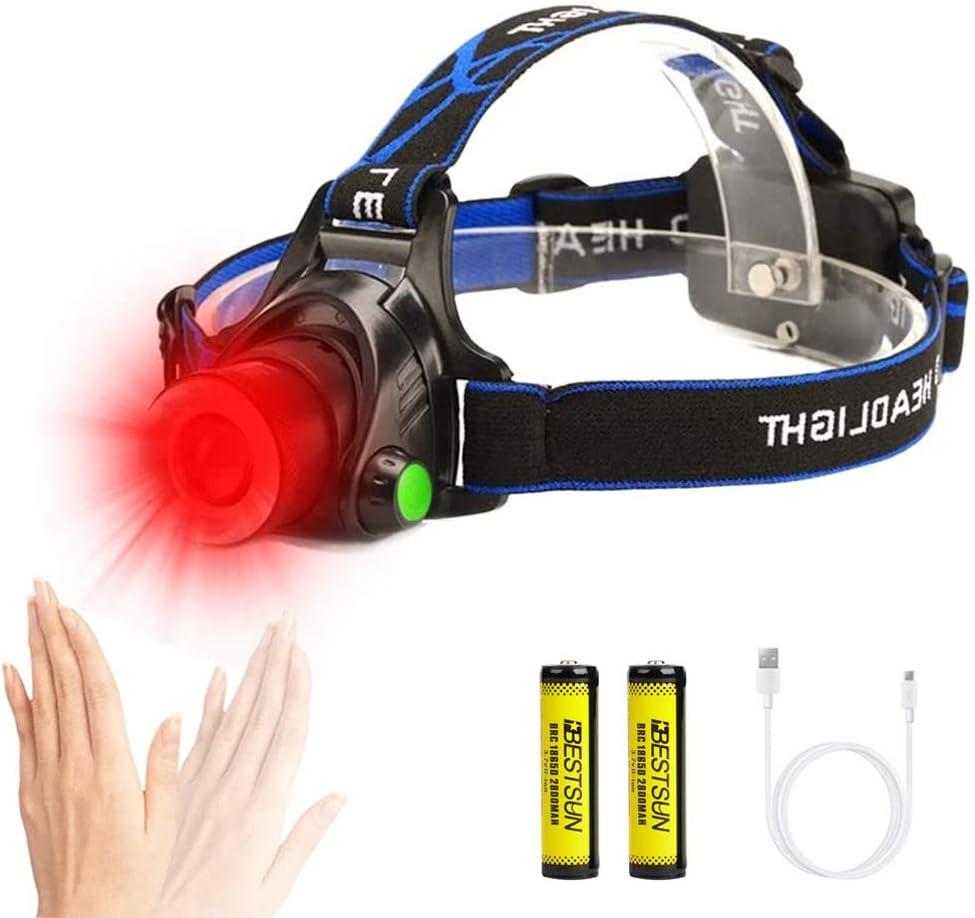 3 Modos Bater/ías Incluidas Linterna Frontal LED Recargable con Sensor de Movimiento Astronom/ía y Observaci/ón Nocturna Pesca Linterna/Cabeza Luz Roja Linterna Frontal LED Rojo para Caza