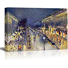 """Wall26 - The Boulevard Montmartre at Night by Camille Pissarro - Canvas Print Wall Art Famous Oil Painting Reproduction - 12"""" x 18"""""""