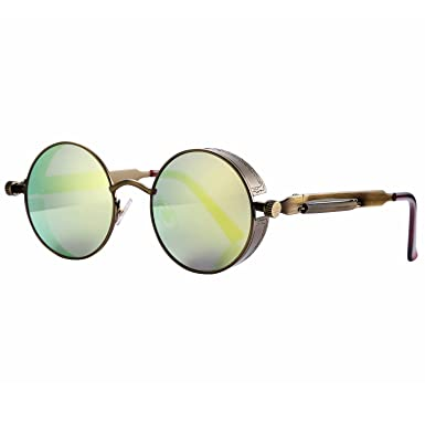 efe86bfc49 Pro Acme Gothic Steampunk Sunglasses for Men Women Metal Frame Round Lens  (Gold Mirrored Lens)  Amazon.co.uk  Clothing