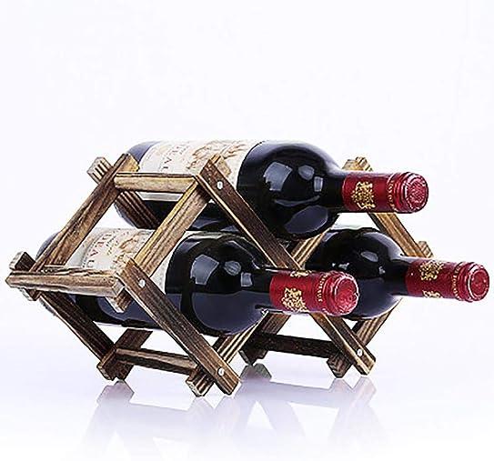 Transer- Wooden Wine Bottle Holder, Foldable Wood Wine Bar Bottle Mount Rack Display Show Shelf Exhibition C