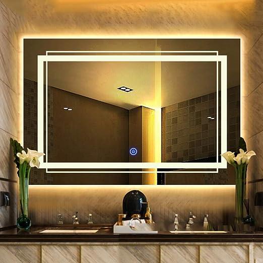 Xinyang Espejo de ba/ño LED Cuadrado Interruptor t/áctil montado en la Pared funci/ón antiniebla l/ámpara de Ahorro de energ/ía IP44 con 50x70cm