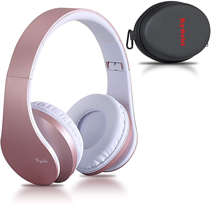 Rydohi Wireless Bluetooth Headphones Over Ear Hi Fi Stereo Headset With Deep Bass Foldable And Lightweight Wired And Wireless Modes Built In Mic For Cell Phones Tv Pc And Traveling Rose Gold Amazon Co Uk