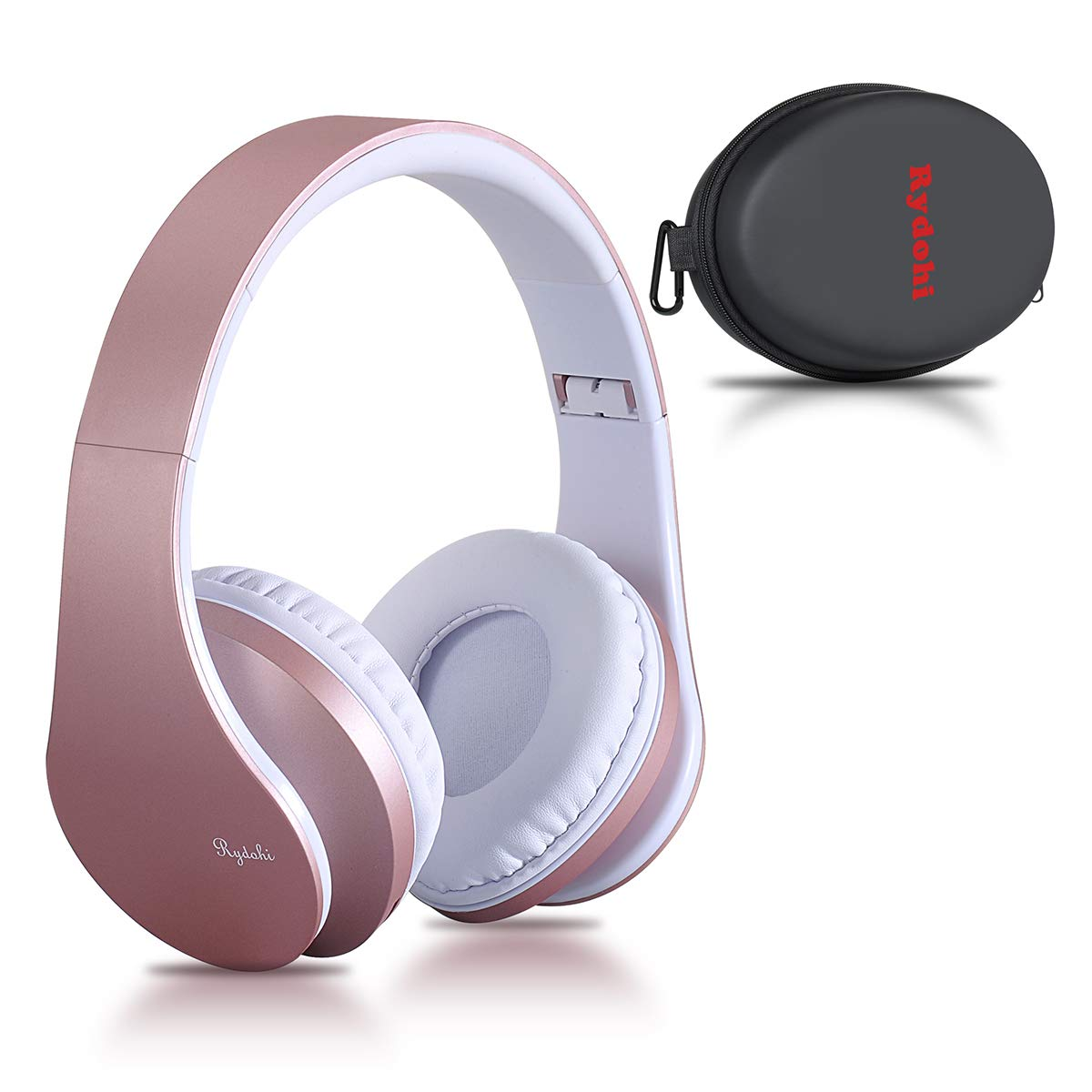Bluetooth Headphones Over Ear, Rydohi Wireless Stereo Headset with Deep Bass, Foldable and Lightweight, Wired and Wireless Modes Built in Mic for Cell Phone, TV, PC- Rose Gold