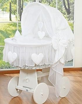 8d9cccd42d037 Berceau bébé osier blanc complet textile blanc