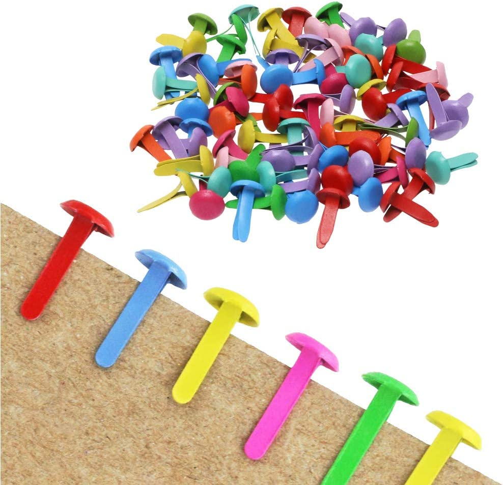 Metal Scrapbook Brads for Craft and Scrapbooking Brads DIY Paper Art Crafting School Project Decorative for Child Assorted Color Brads Kids(8/×12cm) 800 PCS Mini Round Paper Fasteners 800