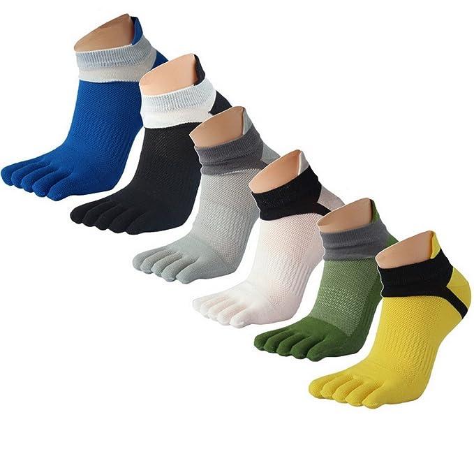 Funda de la AHA Hombres Corte Bajo algodón deportes cinco dedos calcetines diario (6 unidades