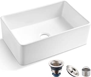 Koozzo 30-Inch White Farmhouse Fireclay Kitchen Sink, Rectangular Single Bowl, R285