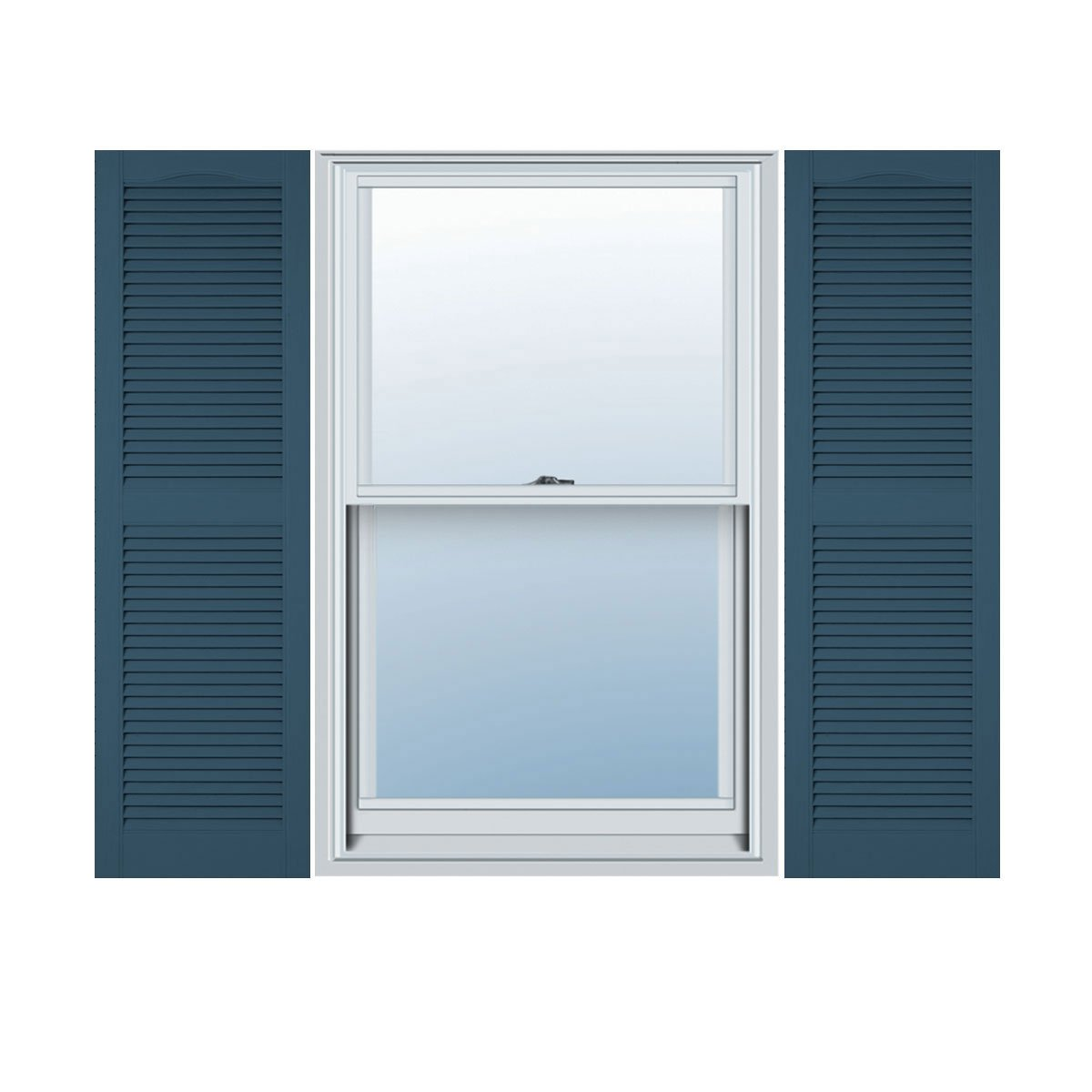 12''W x 64''H Standard Size Cathedral Open Louver Shutter, w/Installation Shutter-Lok's, 036 - Classic Blue