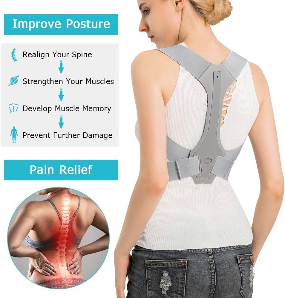 Relieve Upper Back Shoulder Pain Straightener Posture Correction Traniner Back Brace Posture Corrector for Women Men L, 33-38inch Adjustable Backguard Support for hunching /& slouching Improvement