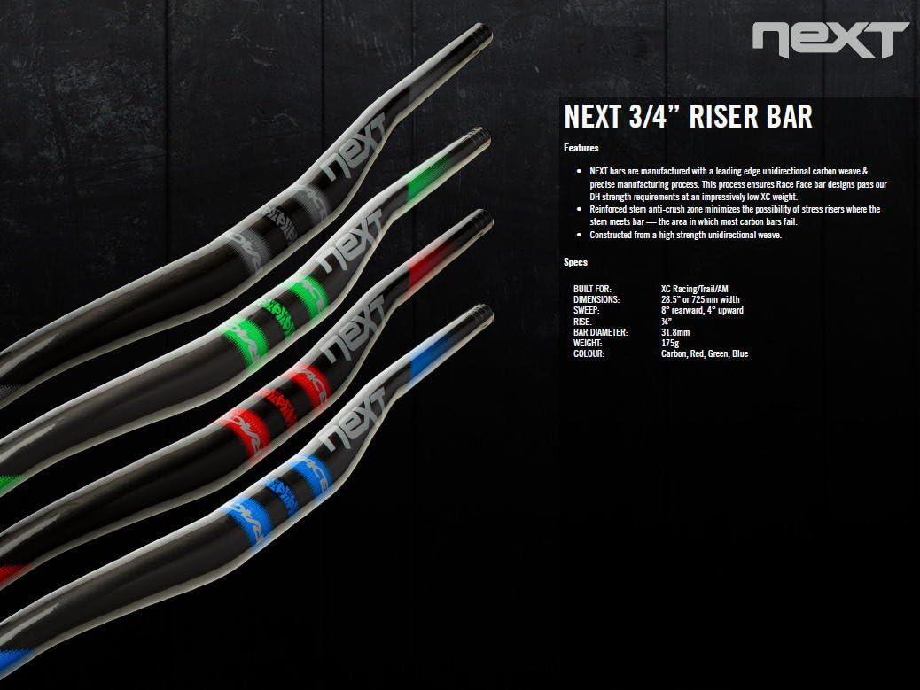 New Race Face NEXT Riser Carbon Handlebar 31.8 x 725mm 3//4 Rise Blue
