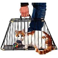 Lemonda Cat Bath Cage,2 Door Pet Shower Hair Drying Cage,Anti Scratch or Bite Cat Shower & Travel Bag (Black)