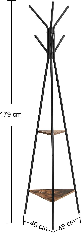 Noir et Vintage RCR16BX SONGMICS Porte-Manteau sur Pieds au Style Rustique pour v/êtements Portant Meuble d/'entr/ée Chapeaux Style Industriel Sacs avec 2 /étag/ères