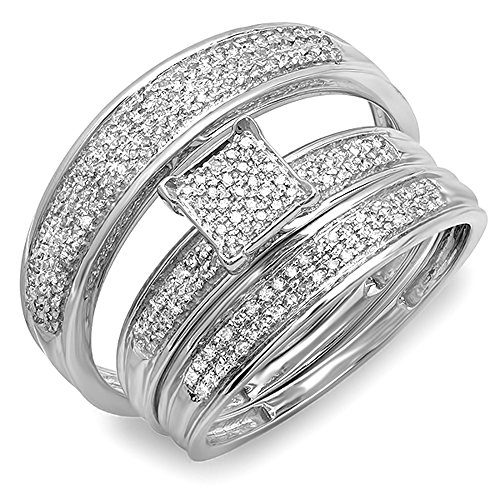Dazzlingrock Collection 0.50 Carat (ctw) 14k Gold Round Diamond Men's & Women's Micro Pave Trio Bridal Wedding Band Set 1/2 CT