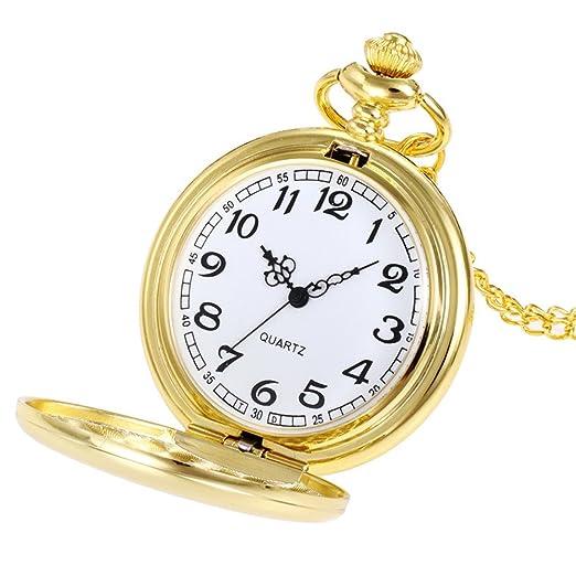 DAYLIN Reloj de Bolsillo Mujer Hombre Antiguo Steampunk con Cadena Collar Reloj de Cuarzo Reloj Bolsillo Dorado Plata Enfermera Pocket Watch Joya Regalos ...