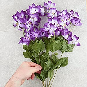 Factory Direct Craft Violet and White Artificial Clematis Floral Bush for Indoor Decor 3