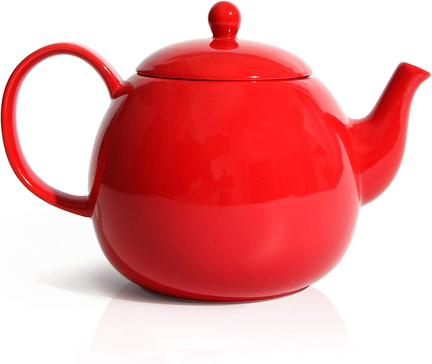 Amazon Com Sweese 220 104 Porcelain Teapot 40 Ounce Tea Pot Large Enough For 5 Cups Red Teapots