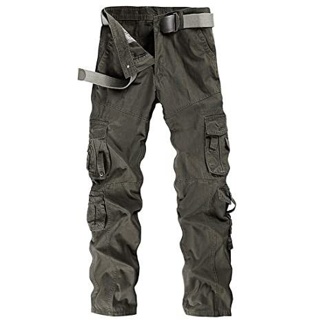 d3c9e5a75f0 Image Unavailable. Image not available for. Color  Men Cargo Pants Long  Multi-Pocket Mid Waist Casual Pocket Beach Work Overalls Slacks Trousers
