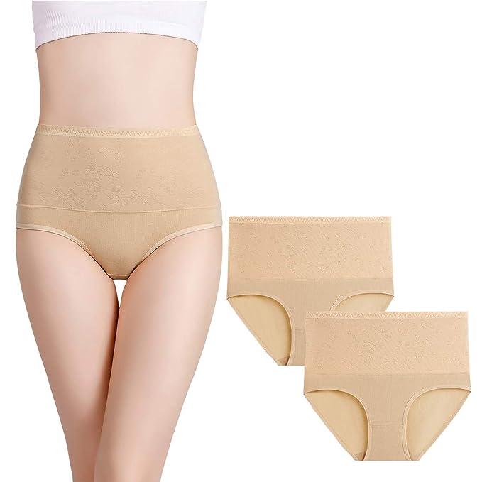 9f5318e1fee7 wirarpa Women's Tummy Control Cotton Underwear High Waist ...