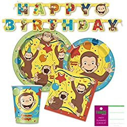 Curious George Party Supplies Pack for 16 Guests - Paper Plates, Napkins, Cups, Banner