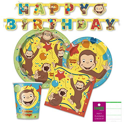 Curious George Party Supplies Pack for 16 Guests - Paper Plates, Napkins, Cups, -