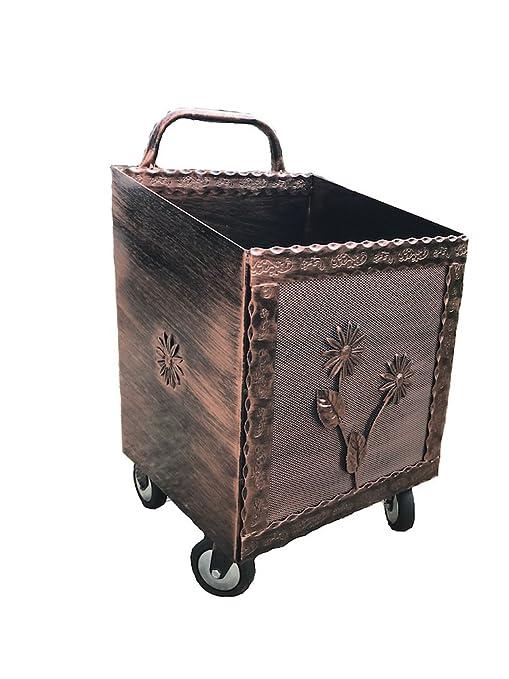 Carro porta leña de hierro forjado negro/cobre con ruedas, 43