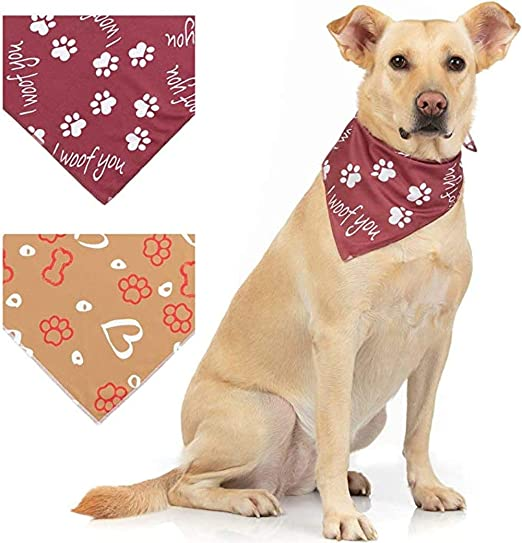 I Woof You Heart Paws Cute Puppies FREE SHIPPING Valentine/'s Day Dog Bandana