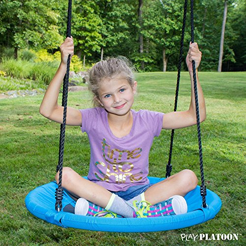 Flying Saucer Tree Swing - Blue, 400 lb Weight Capacity, Fully Assembled, Easy to Install