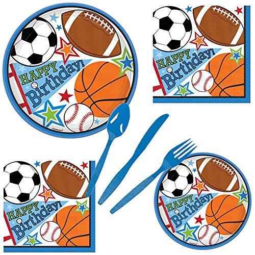 Football Soccer Basketball Baseball Sports Birthday Party Pack Set Serves 16 – Luncheon & Dessert Paper Plates, Napkins & Cutlery – Disposable Party Supplies for Food and -
