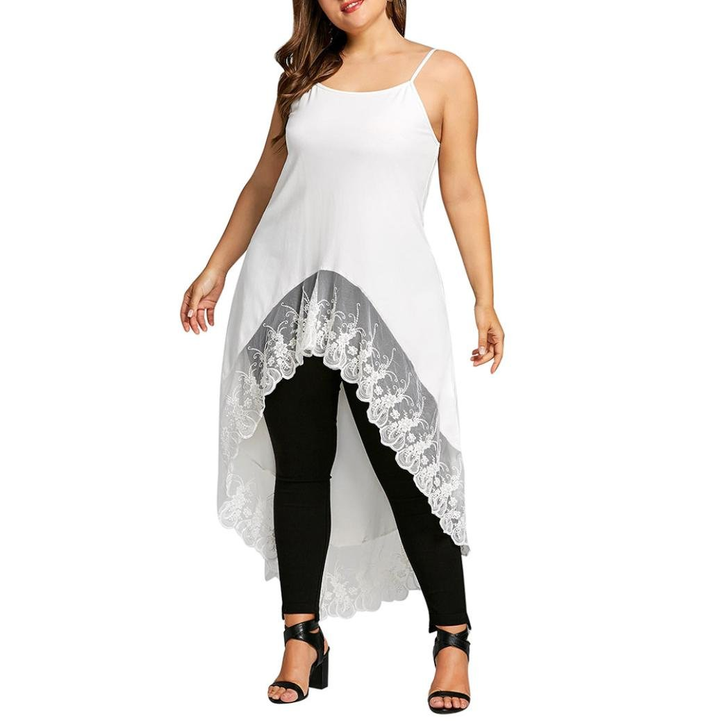 Womens Tops,Toimoth Women Plus Size Lace Patchwork Irregular Hem Blouse Sleeveless Cami Tops Shirt Skirt Petticoat Underdress(White,XXXL)