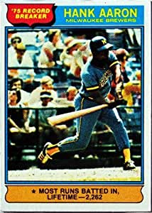 1975 Topps #1 Hank Aaron Atlanta Braves Baseball Card In Protective Screwdown Display Case