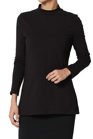 5771d0ed TheMogan Women's Mock Neck Long Sleeve Stretch Cotton Top Slim Tee Black S