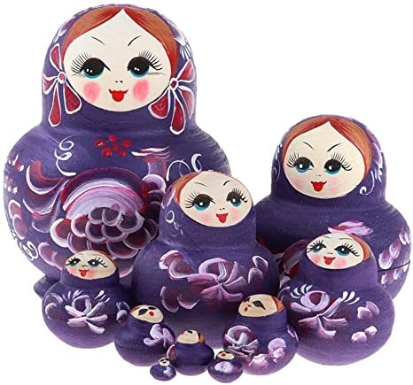 2 Set of 10pcs Girls Russian Nesting Doll Babushka Matryoshka Stacking Dolls
