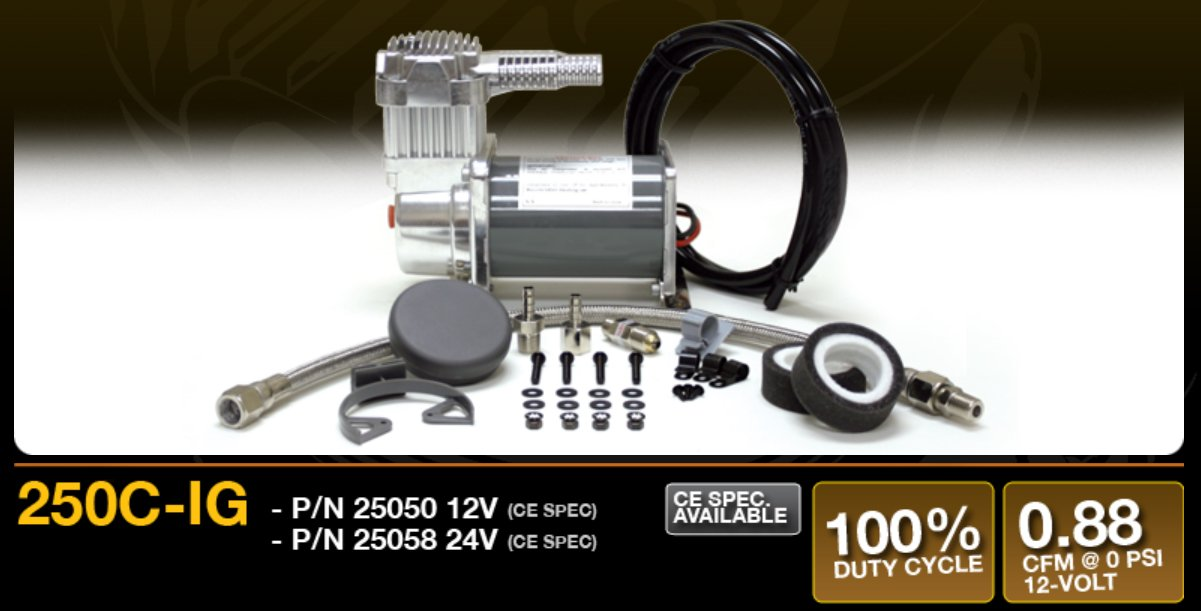 VIAIR 250C IG Series Compressor Kit 12V, CE, Intercooler Head, 100% Duty, Sealed Viair Corp V 25050