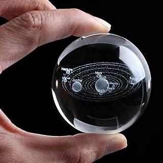Lovemorease 6 cm 3D Clair en Verre gravé système Solaire Miniature Planètes Sphère Boule De Cristal Décor À La Maison Chambre Décoration Cadeau pour garçons et Filles
