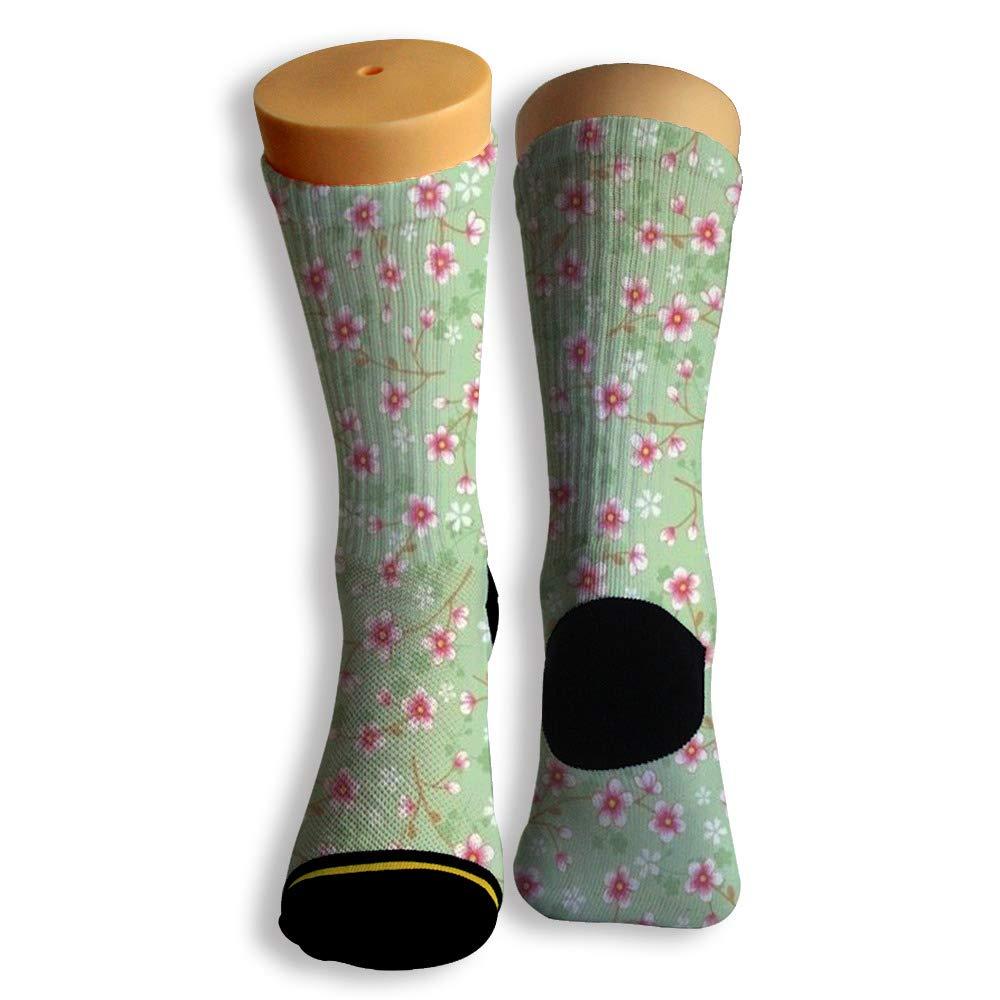 Basketball Soccer Baseball Socks by Potooy Japanese Sakura 3D Print Cushion Athletic Crew Socks for Men Women