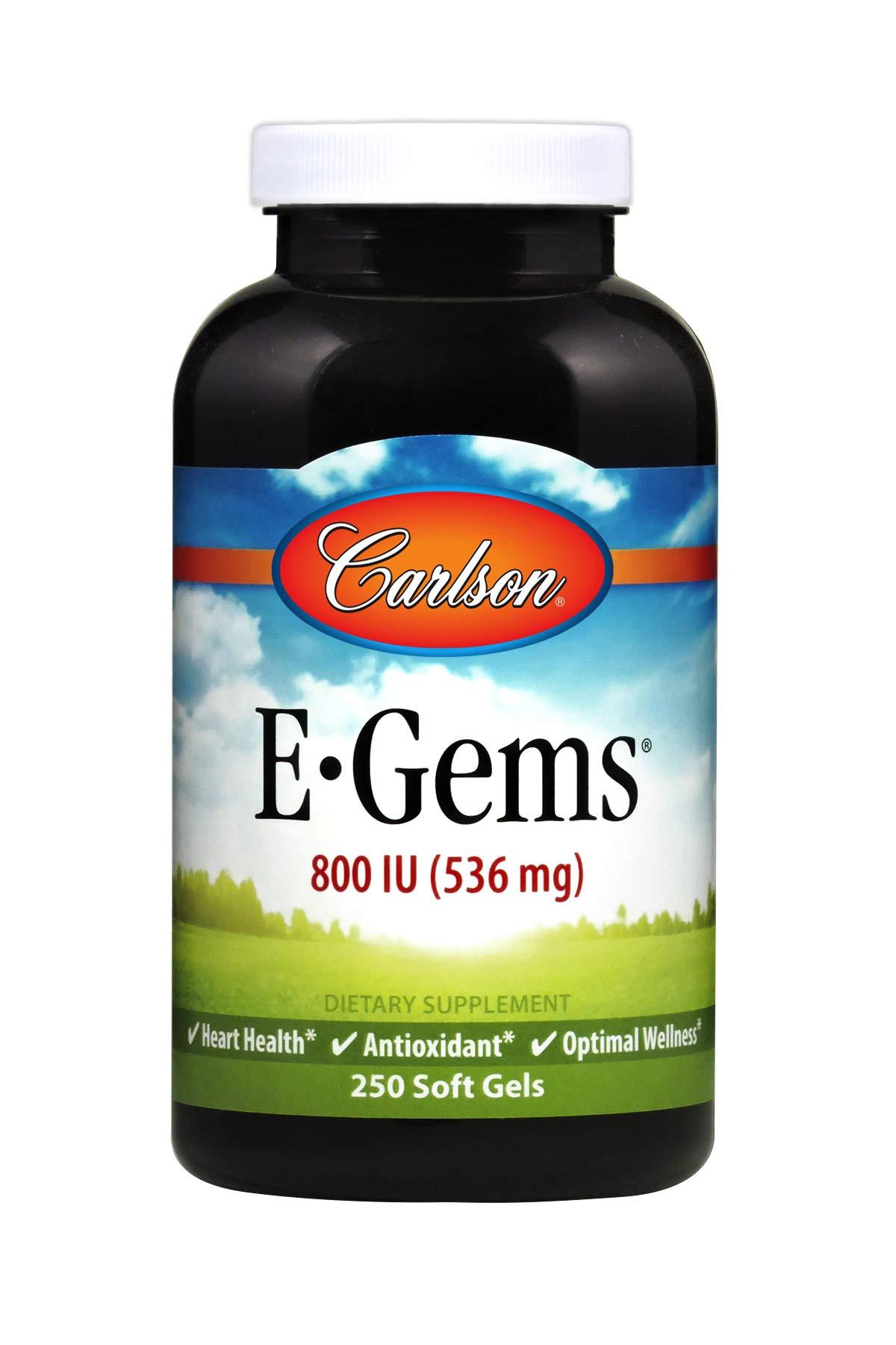 Carlson - E-Gems, 800 IU (536 mg), Heart Health & Optimal Wellness, Antioxidant, 250 soft gels by Carlson