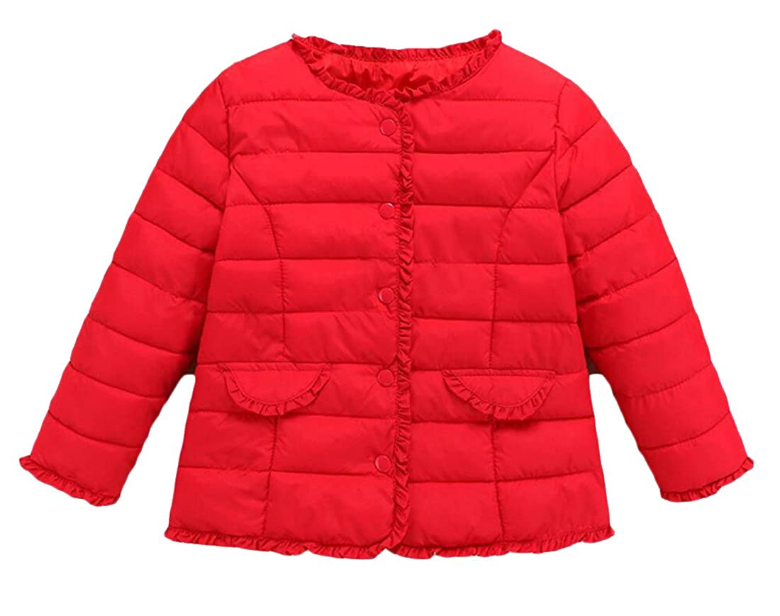 lovever Little Girls Solid Color Cotton Casual Loose Down Jacket Puffer Coat
