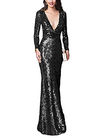 Stillluxury Deep V Neck Sequin Prom Dresses Long Sleeves Women Mermaid Evening Gowns Black Size 6