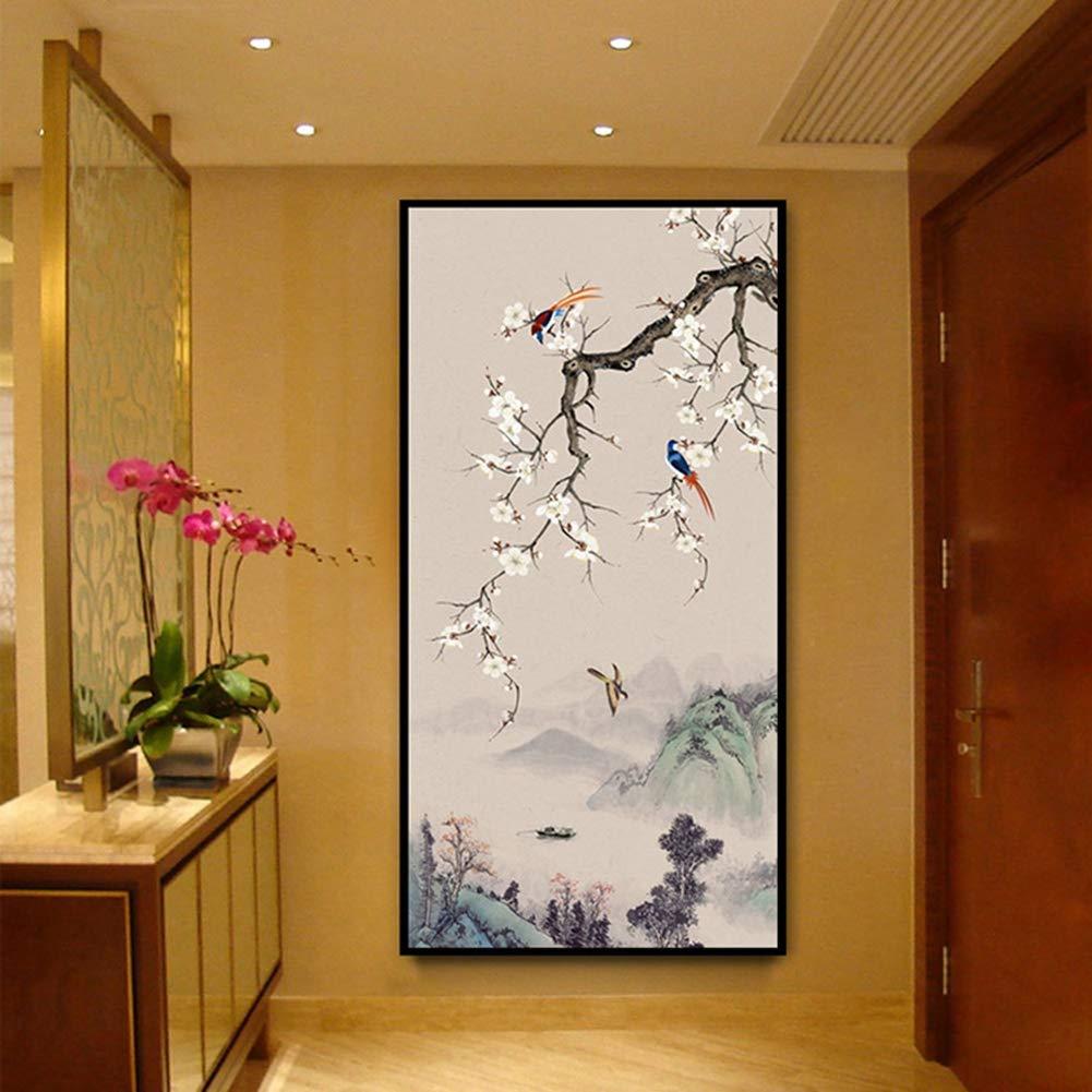 KINYNE Quadro su Tela Pittura a Inchiostro Cinese Astratta del Paesaggio Montano con Fiori e Uccelli Decorazione Domestica Moderna pronta per Essere appesa,40x80cm