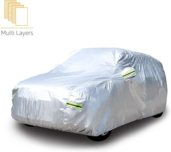 AmazonBasics Silver Weatherproof Car Cover - PEVA with Cotton