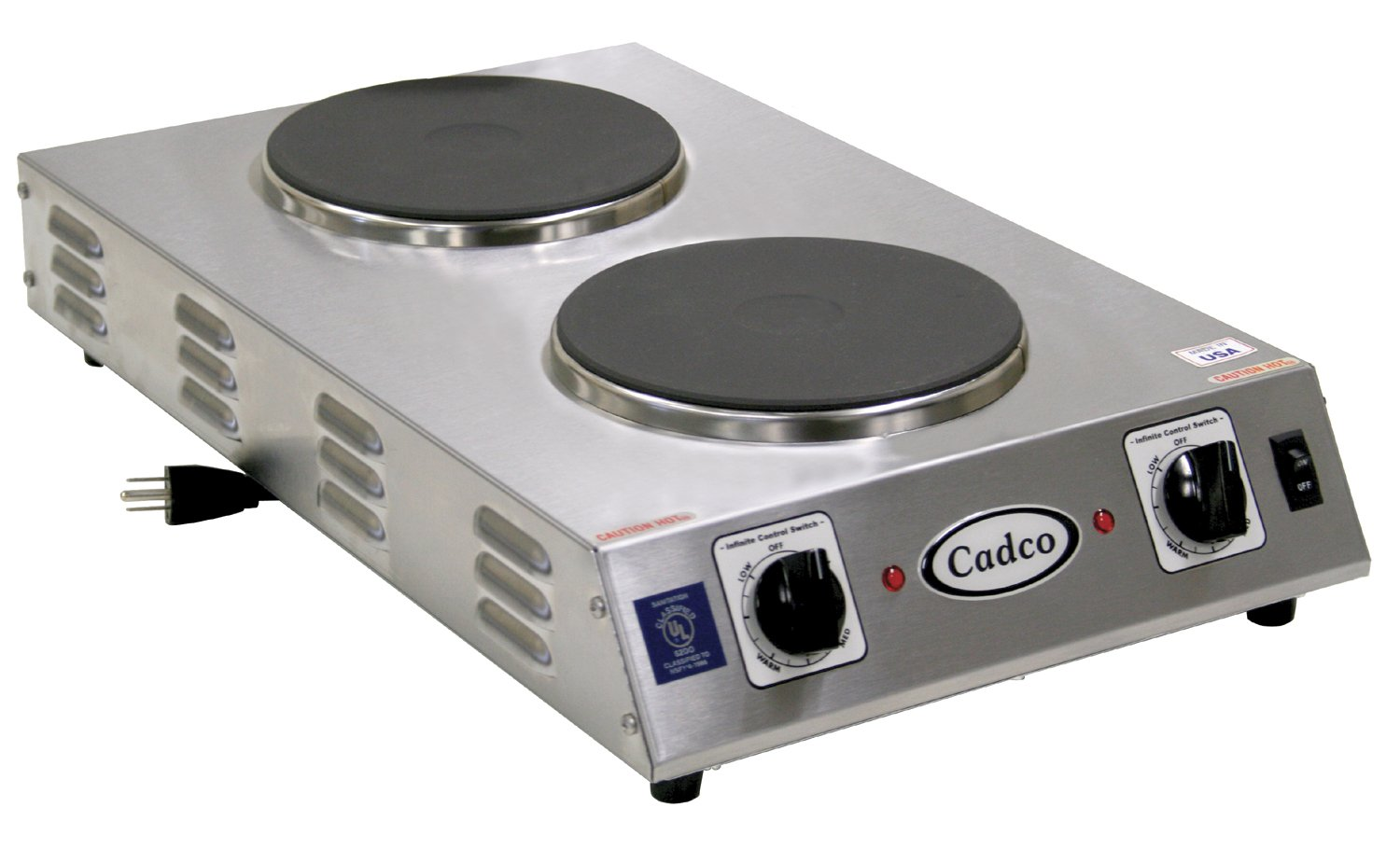 Cadco CDR-2CFB Space Saver Double Cast Iron 120-Volt Hot Plate