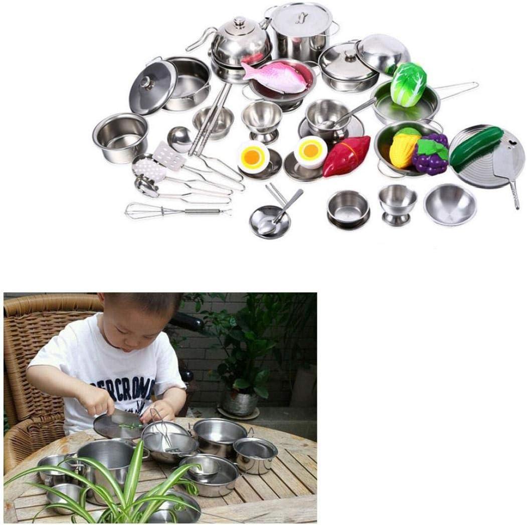 Cuisine Enfants en Acier Inoxydable Jouets 18 Pcs Miniature Batterie De Cuisine Ensemble De Jeu Simulation Vaisselle Toy Jeux De R/ôles pour Les Enfants