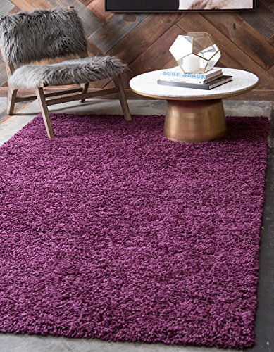 Unique Loom Solo Solid Shag Collection Modern Plush Eggplant Purple Area Rug (5' x 8') ()