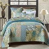 Jameswish 100% Cotton Patchwork Quilt Sets Korean Simple Style Patchwork Bedspread Reversible Pastoral Floral Comforter Home Decoration 3-Piece Including 1Quilt 2Pillowshames King Size(90x106)