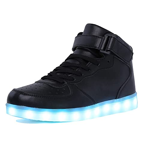 CIOR Kids Boy and Girl's High Top LED Sneakers Light Up Flashing Shoes (Toddler/