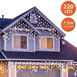 ANSIO Outdoor Christmas Icicle Lights 220 LED 7.5m/24ft Lit Length Cool White LED Fairy Lights Indoor/Outdoor Timer…
