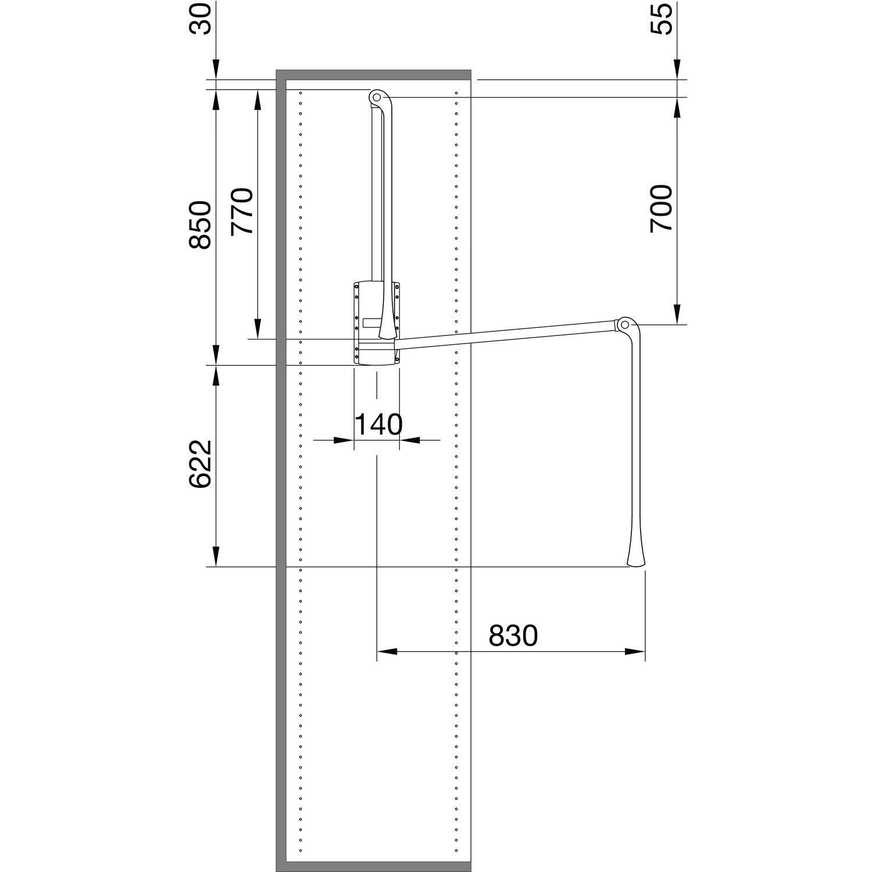 H 850 servetto se08mega0/Ropa Lift Junior tragkr.10/kg KB 600/ gris KS gris//fe sil /1000/mm