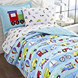 Wildkin 5 Piece Twin Bed-in-A-Bag, 100% Microfiber Bedding Set, Includes Comforter, Flat Sheet, Fitted Sheet, Pillowcase, and Embroidered Sham, Olive Kids Design – On The Go